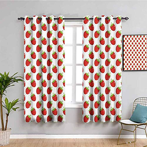 Red Decor Black out cortina de ventana Fruit Theme Pattern Cartoon Style fresa sobre fondo blanco Ilustración mantener buen sueño rojo helecho verde W42 x L63 pulgadas