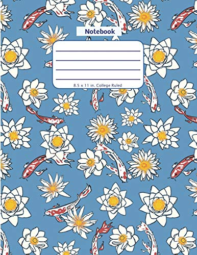 Notebook: Koi Fish and Flower - Large Notebook - Lined Pages in a Big Blank Format with College Ruled Lines and a Soft Cover Paperback