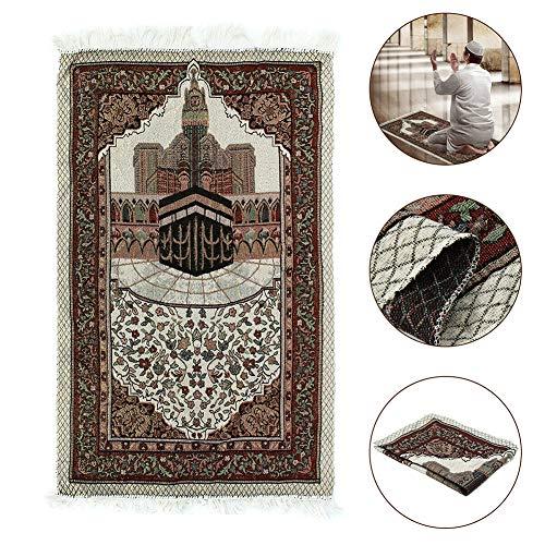 AmandaJ 110x65cm Gebetsteppich Muslimische Stickerei Teppich Islamische Tragbare Quaste Gebetsteppich
