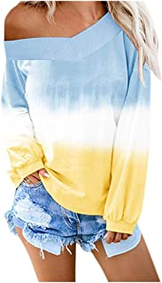 NANTE Top Loose Women's Blouse Colorblock Tie Dye Printed V Neck Off Shoulder Sweatshirt Contrast Color Pullover Womens Tops