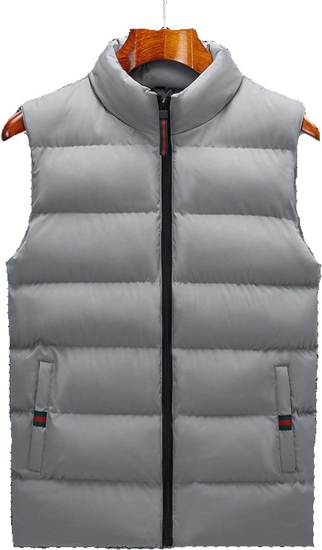 Men's Warm Puffer Vest Lightweight Down Coat Zipper Up Sleeveless Jackets Gilet for Outdoor Travel