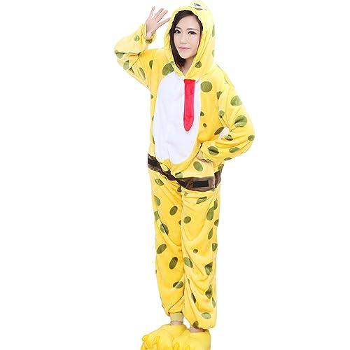 e723faf1cceab Unisex Adult Homewear Spongebob Pajamas Flannel One-Pieces Pajamas Cosplay  Kigurumi Onesie
