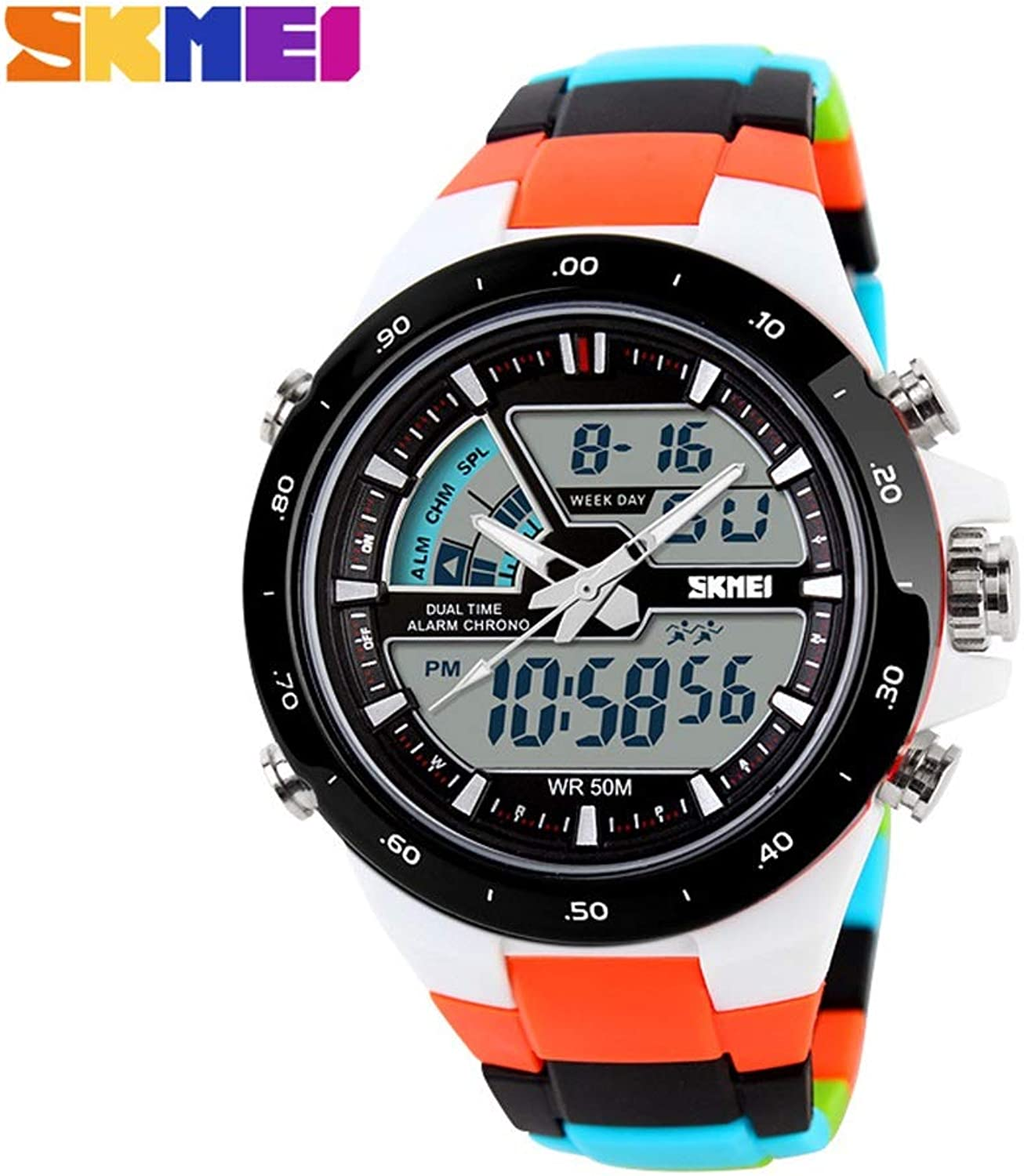 Fashion Local gold Outdoor Sports Double Men's Watch Student Personality Jelly Electronic Watch Comfortable