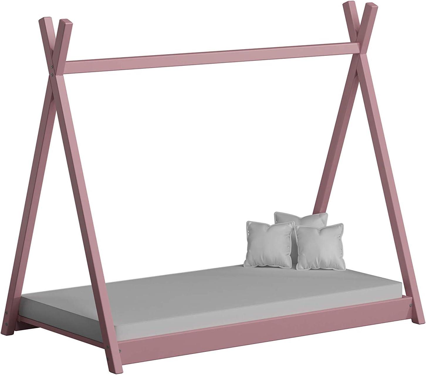 Childrens Beds Home Cama Individual con Dosel de Madera Maciza - Estilo Titus Tepee para niños Niños Niño pequeño - Sin colchón Incluido (160x80, ...