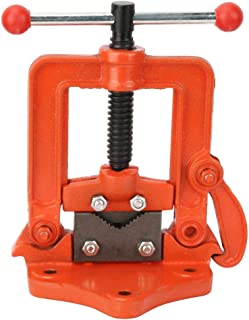 Cast Iron Table Rotating Clamp of Three Size Pipe Vise Cross Flat Press Vise for Pipe Fitting Threading Operations(4in)