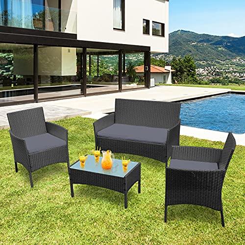 HENGMEI Gartengarnitur Set Rattan für 4 Personen Polyrattan Gartenmöbel Set Gartenlounge Set Terrassenmöbel mit Sitzkissen, Tisch für Balkon oder Terrasse