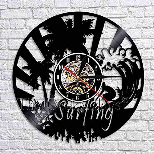 fdgdfgd Disco de CD clásico Arte de Surf Decoración de Pared Diseño Moderno Disco de Vinilo Reloj de Pared Escena de Playa Surfista | Reloj de Pared de Bricolaje Luminoso de 7 Colores