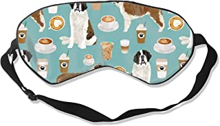 Saint Bernard Dog Breed Pattern Coffee Latte 2 100% Silk Sleep Mask Comfortable Non-Toxic, Odorless and Harmless,Soft Blindfold Eye Mask Good for Travel and Sleep