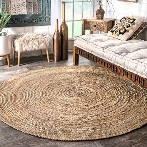 nuLOOM Rigo Hand Woven Jute Area Rug, 8' Round, Natural