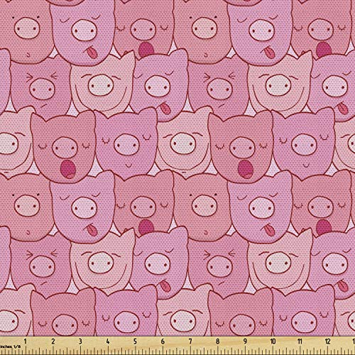 Lunarable Pig Fabric by The Yard, Funny Snouts of Pigs with Different Emotions and Happy Animal Faces Tile Pattern, Decorative Fabric for Upholstery and Home Accents, 1 Yard, Pale Pink