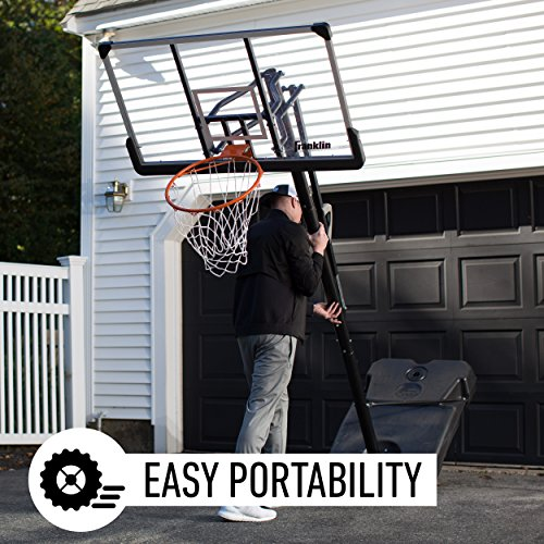 """Franklin Sports Portable Basketball Hoop – 48"""" Adjustable Outdoor Basketball Hoop with Wheels – Authentic Driveway Basketball Hoop for Adults and Kids"""