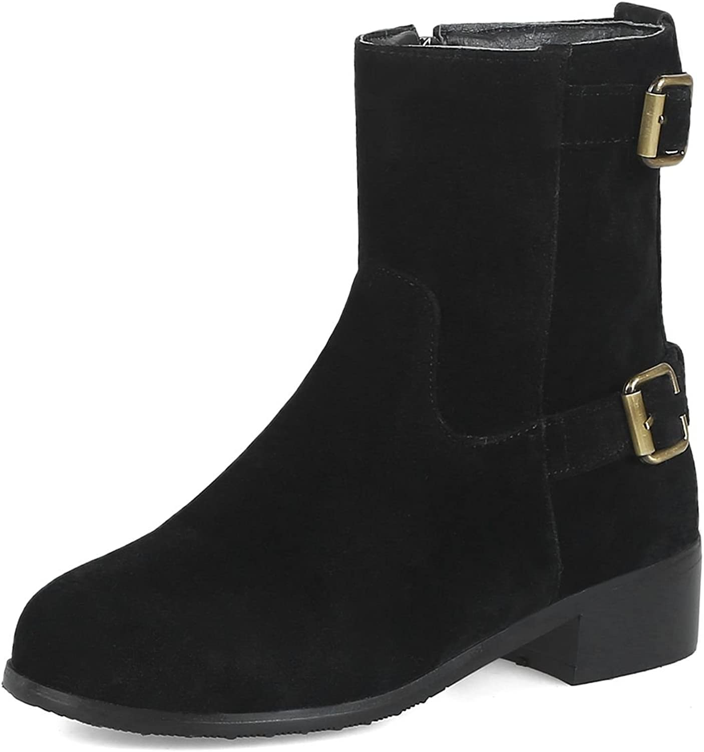 DoraTasia Comfort Artificial Suede Heighten Buckle Round Toe Women's Mid Calf Booties