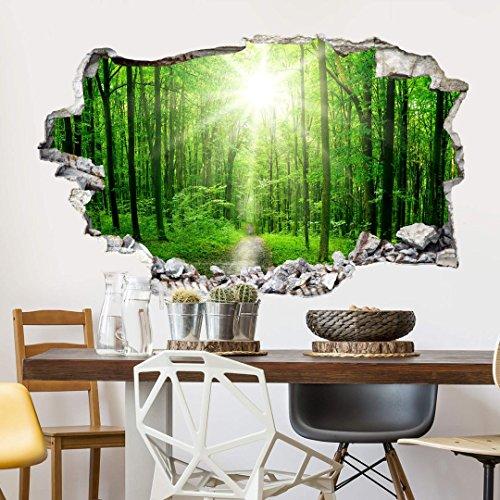selbstklebende Natur Tapete 3D Wandtattoo Wald Wandsticker Sunny Forest Klebefolie (100x70 cm)