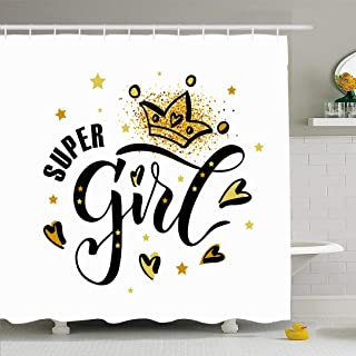 Ahawoso Shower Curtain Set with Hooks 60x72 Lettering 10 Drawn Super Girl Text Chick Sweet Apparel Clothes Phrase Signs Symbols Miscellaneous Waterproof Polyester Fabric Bath Decor for Bathroom