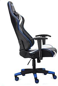 Rg-Max, sedia da ufficio, scrivania e gioco, reclinabile, in finta pelle Blue