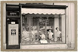 Gifts Delight Laminated 35x24 inches Poster: Beauty Parlour Window Display Sepia Antique Vintage Ladies Business Salon Care Woman Female Treatment Wellness Hair Skin Professional Skincare Cosmetic