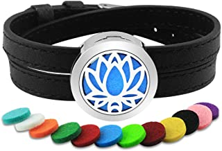 Lademayh Aromatherapy Bracelet for Women Essential Oil Diffuser Lotus Design Stainless Steel Diffuser Locket with Leather Wristband