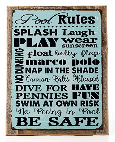 HBA Framed Pool Rules Metal Sign, Motivational Rules, Swimming Pool Sign, Positive Thinking