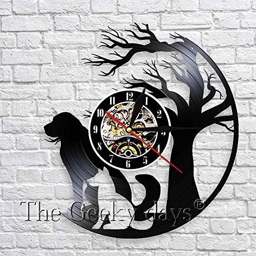 GXYtable cloth Perro Familia Fondo Arte Arte Decoración Reloj Puppy Animal Pet Vinyl Record 3D Wall Clock Wall Clock Creative Wall Art Decoration