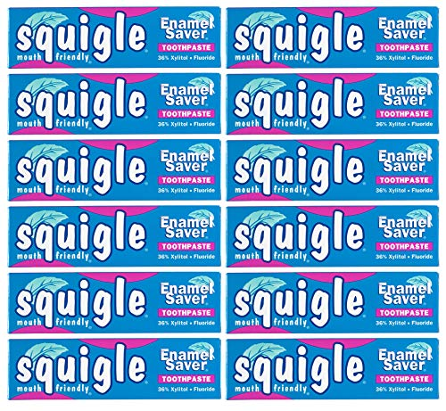 Squigle Enamel Saver Toothpaste Helps Prevent Canker Sores Perioral Dermatitis Bad Breath Chapped Lips Soothes and Protects Dry Mouths  12 Pack