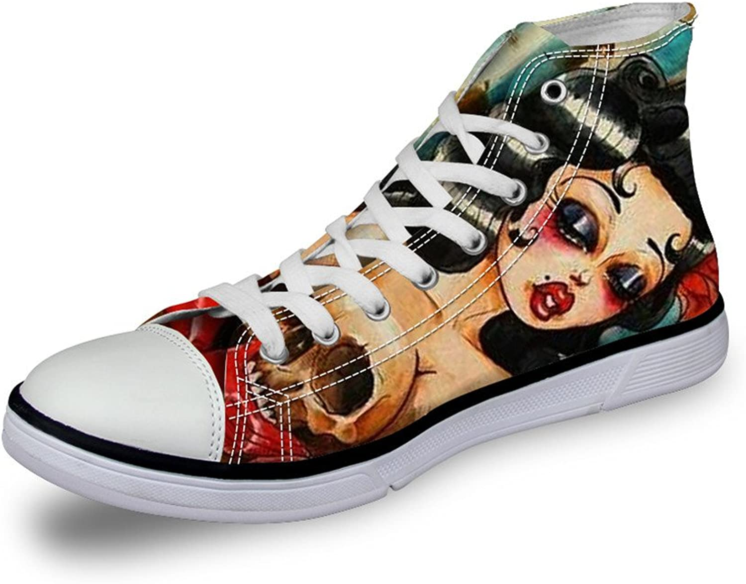 FOR U DESIGNS Stylish Skull Creative Print High Top Lace Up Light Weight Casual Canvas Sneakers for Women and Men