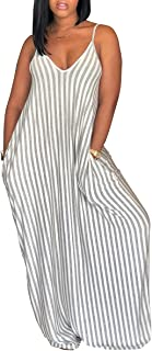 Women's Casual Sexy Summer Stripe Bodycon Long Maxi Dresses Floor Length Sleeveless Plus Size Sundresses