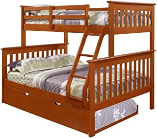 DONCO KIDS Mission Bunk Bed Light Espresso/Twin/Full/W/Twin Trundle Bed
