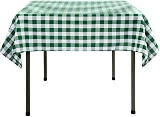 Waysle 52x52 Inch Square Polyester Tablecloth Green and White Checker