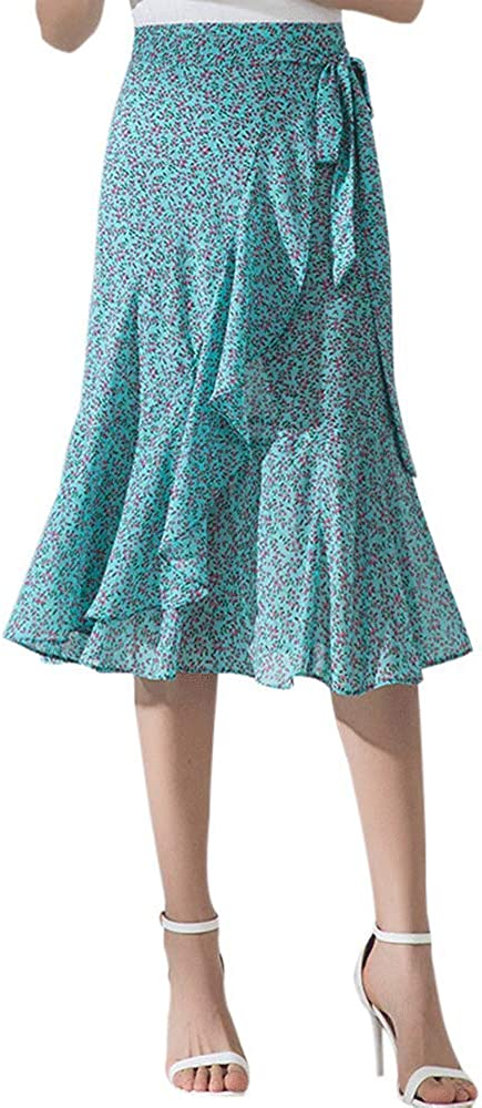 Maidow Women's Leopard Print Casual High Waist Ruffle Midi Bodycon Wrap Skirt