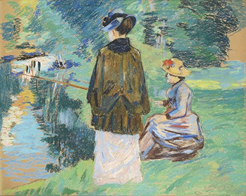 The Museum Outlet – Madame Guillaumin Fishing avec sa fille Madeleine – Canvas Print Online Buy (76,2 x 101,6 cm)