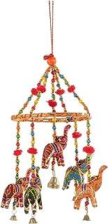 APRATIM Men's Indian Traditional Elephant Orange Umbrella Hanging Layer Of Five Elephant Door Hanging, Decorative Hanging ...