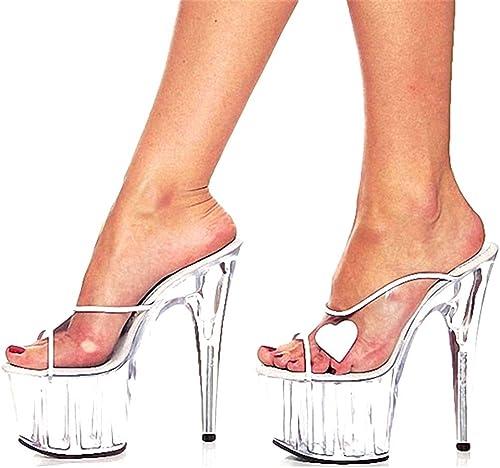GHFJDO Sandalias con Silberforma Transparente para damenes, Summer Club Extreme High Heels, Clásico Stiletto Correa para el Tobillo Perspex Block Heels Party & Evening