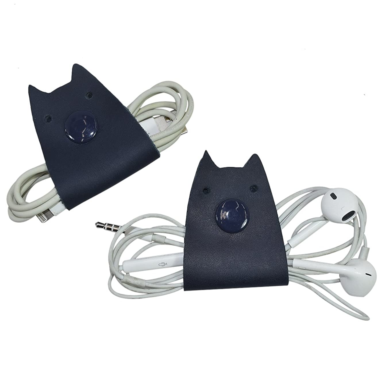 Cat Shaped Cord Keeper (Cord Clam) 2-Pack Handmade by Hide & Drink :: Slate Blue
