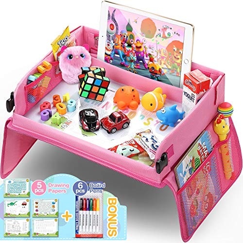 Upgraded Kids Travel Tray with Dry Erase Top Car Seat Travel Tray With Educational Drawing Car Seat Activity Tray with 16 Organizer Pockets Snack Lap Tray Pink for Car Stroller Plane