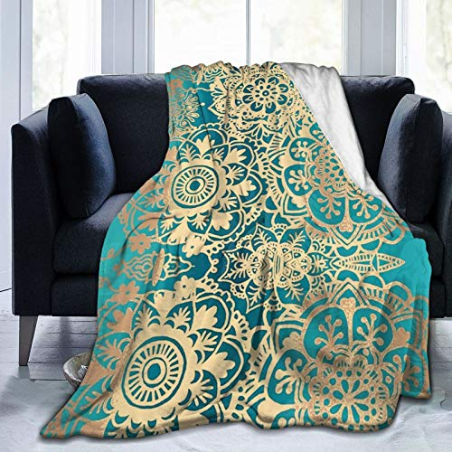 hotrilicoc Green Gold Mandala Throw Blankets Super Soft Cozy Warm Blanket Lightweight Flannel Blanket for Bed Couch 80' x60