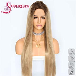 Sapphirewigs Silky Soft Straight Ombre Brown Color Blogger Camgirl Daily Makeup Present Synthetic Lace Front Wedding Party Wigs