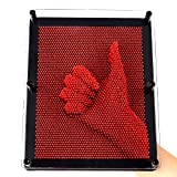 "E-FirstFeeling 3D Pin Art Sculpture Extra Large 10"" X 8"" Pin Impression Hand Mold Board - Red"