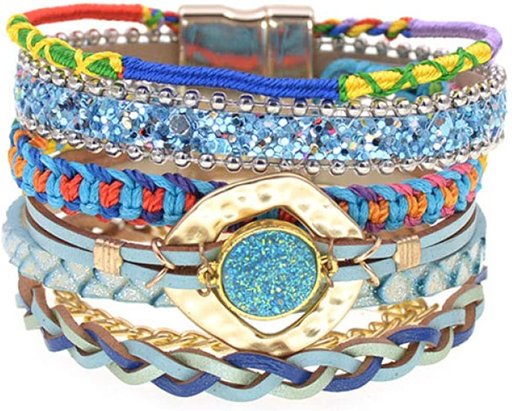 Women favorite Bracelet Bargain Handmade Cotton Bracelets Leather Bohemia Colorfu