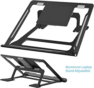 Laptop Stand, Foldable Adjustable Laptop Stand for Desk, Aluminum Ventilated Stand Anti-Slip Silicone Pad, Laptop Riser Ergonomic Portable Holder for 11