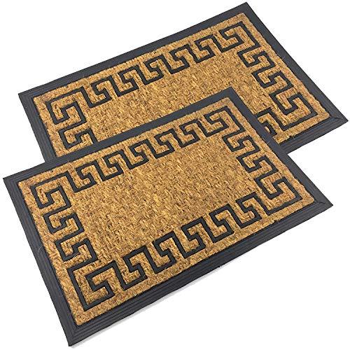 Home Line Zerbino in gomma e fibra di cocco, 40 x 60 cm, per interni ed esterni, set da 2 pezzi