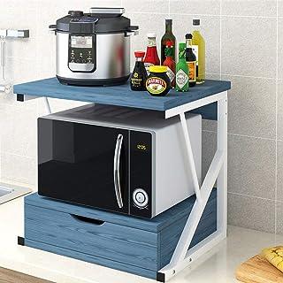 MOMIN Étagère Debout Bois 2 Niveau Micro-Ondes Support Support de Rangement avec et tiroir Spice Rack Organisateur 3 Coule...