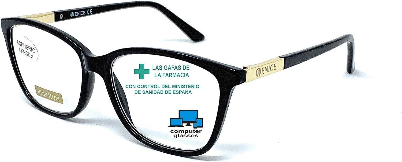New model 2021 Gafas de lectura con filtro bloqueo de luz azul para gaming, ordenador, móvil. Anti fatiga, presbicia, vista cansada, Mujer Diseño en Colores. VENICE Smart (Black 2, +2,50)
