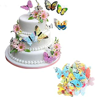 Edible Butterflies Rice Paper For Cake & Cupcake Toppers Decoration Mixed Colour, Birthday Wedding Cake Tools - 42Pcs