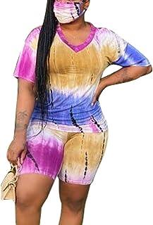 MAYFASEY Womens Ladies Plus Size 2PCS Sport Set Cute Tie Dye Printed Short Sleeve T Shirt Tops Biker Shorts Sets Athletic ...
