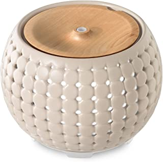 Ellia , Gather Ultrasonic Aroma Diffuser , Grey , Ceramic & Wood | 200mL Humidifier with Color-Changing Light & Mood Sounds | 10 Hours Continuous Runtime , 20 Hours Intermittent Runtime| 3 Oil Samples