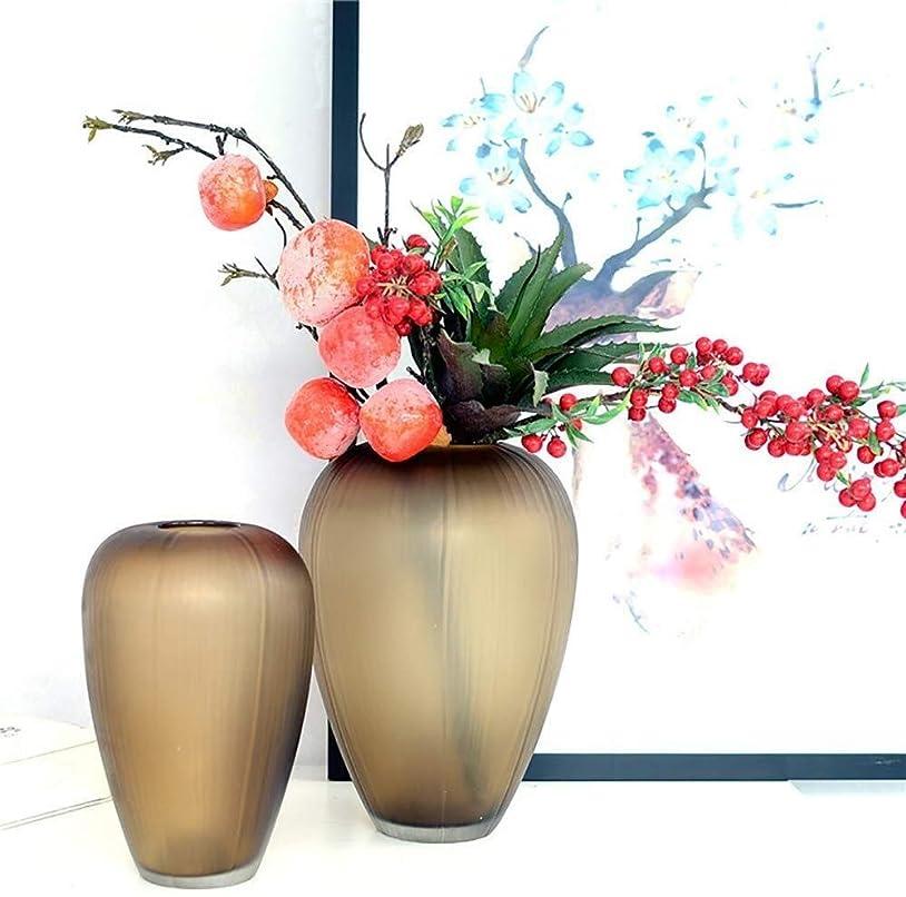 スイス人手入れ粘性の花器 ブラウンガラスの花瓶ホテル装飾ブラウン工場フラワーフラワーアレンジメント水耕19 * 28センチメートル 花瓶