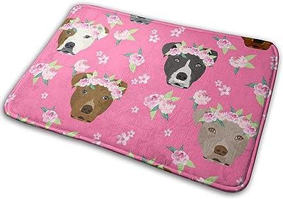 """Pitbull Flower Crown - Dog Flower, Dogs Floral, Pitbull - Pink_27611 Doormat Entrance Mat Floor Mat Rug Indoor/Outdoor/Front Door/Bathroom Mats Rubber Non Slip 23.6"""" X 15.8"""""""