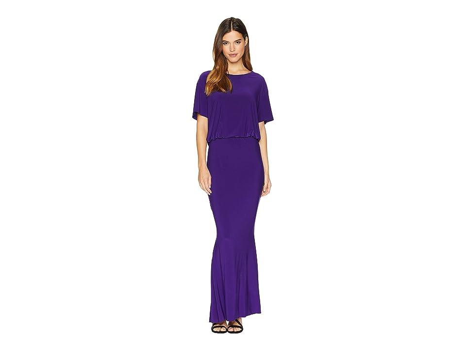 KAMALIKULTURE by Norma Kamali Short Sleeve Boxy Top Fishtail Gown (Purple) Women