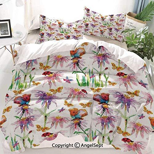 Kanaite Floral Decor Duvet Cover Set,Watercolor Flowers with Butterflies Ladybug Spring Season Vibrant Nature Picture,Decorative 3 Piece Bedding Set with 2 Pillow Shams