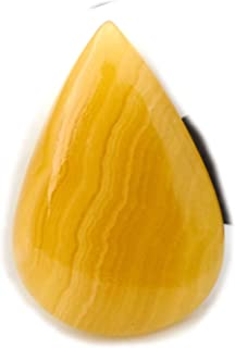 The Best Jewellery Yellow Lace Agate Cabochon, 38Ct Yellow Lace Agate Gemstone, Pear Shape Cabochon For Jewelry Making (35...